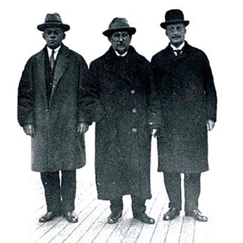Right to left: Otto Warburg, Nahum Sokolov and Zeev Jabotinsky